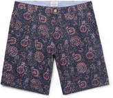Faherty Slim-Fit Indigo-Dyed Printed Linen And Cotton-Blend Shorts