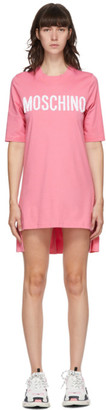 Moschino Pink Embroidered Logo Dress