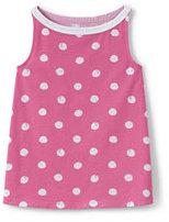 Lands' End Girls A-line Pattern Knit Tank-Aurora Pink Large Dot