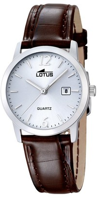 Lotus Women's Quartz Watch with White Dial Analogue Display and Brown Leather Strap 18240/3