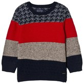 Mayoral Red, Navy and Houndstooth Knit Jumper
