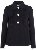 Miu Miu Broderie Anglaise-trimmed Twill Jacket - Midnight blue