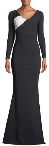 Chiara Boni Bilgi Long-Sleeve Jersey Colorblock Gown