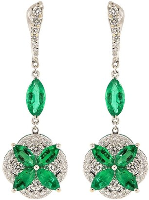 Saboo Fine Jewels 18kt White Gold Emerald And Diamond Drop Earrings