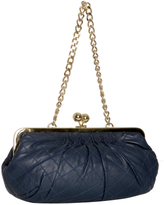 Dania Reiter navy stitched leather medium shoulder bag