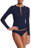 Karla Colletto Solid Lace-Up Long-Sleeve Underwire Rashguard, Navy