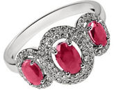 Fine Jewellery Ruby with 0.264 Total Carat Weight Diamond and 14K White Gold Ring
