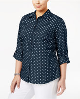 Karen Scott Plus Size Polka-Dot Shirt, Only at Macy's