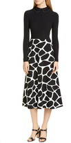 Valentino Contrast Bodice Giraffe Print Long Sleeve Midi Dress