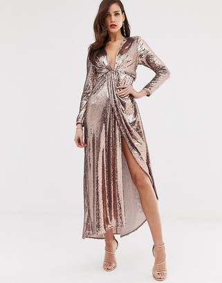 Asos Edition EDITION plunge asymmetric maxi dress in sequin-Gold