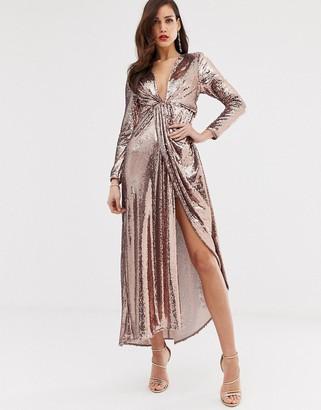 ASOS EDITION plunge asymmetric maxi dress in sequin