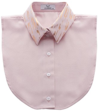 Lilirooz - Straight pink collar with bronze streaks - cotton | SIZE SMALL | pink | bronze - Pink/Pink