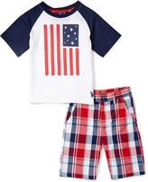 U.S. Polo Assn. Blue US Flag Raglan Tee & Plaid Shorts - Infant