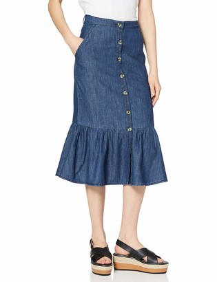 Yumi Blue Denim Button Through Frill Skirt