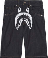 A Bathing Ape Shark print denim shorts 4-8 years