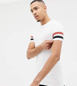 Asos Design DESIGN Tall muscle fit t-shirt with contrast sleeve stripe in white