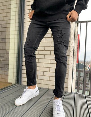 Jack and Jones Intelligence Liam skinny fit jean with rips in black wash