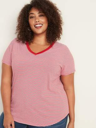 Old Navy EveryWear Plus-Size Striped V-Neck Tee