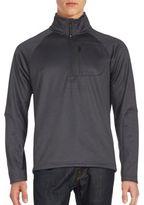 Saks Fifth Avenue BLACK Half-Zip Pique Fleece Sweater