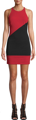 Nicole Miller Colorblock X-Back Heavy Jersey Halter Dress