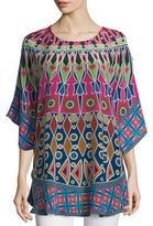 Tolani Narissa 3/4-Sleeve Printed Tunic, Fuchsia/Navy, Plus Size