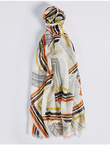 M&S Collection Abstract Striped Scarf