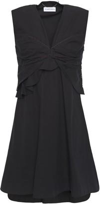 Carven Frayed Pleated Cotton-poplin Mini Dress