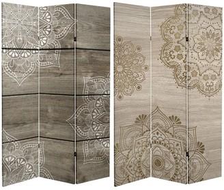 Oriental Furniture Handmade 6' Canvas Mandala on Oak Room Divider