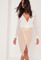 Missguided Asymmetric Satin Panel Skirt Pink