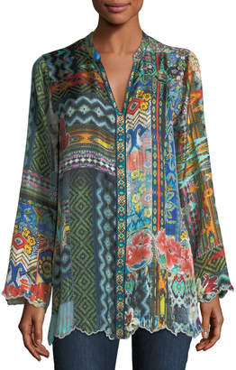 Johnny Was Cane Silk Twill Tunic