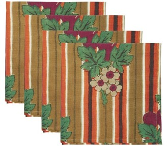 Cabana Magazine - Set Of Four Striped And Floral-print Linen Napkins - Multi