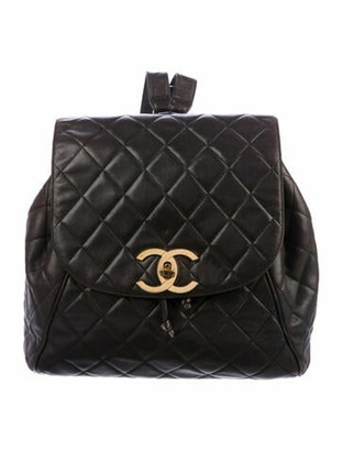 Chanel Vintage Quilted CC Drawstring Backpack Brown