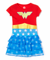 Intimo Red & Blue Wonder Woman Ruffle Nightgown - Toddler & Girls