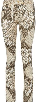 Roberto Cavalli Metallic Snake-print Mid-rise Skinny-leg Jeans