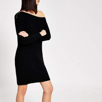 River Island Black off the shoulder knitted mini dress