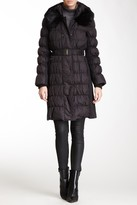 Via Spiga Dyed Rabbit Fur Collar Puffer Coat