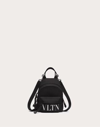 Valentino Garavani Uomo Vltn Mini Nylon Backpack Man Black/white Polyamide 100% OneSize