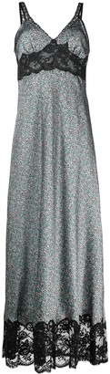 Paco Rabanne Floral-Print Lace-Trim Dress