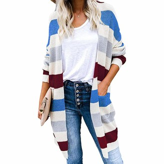 HEFYBA Striped Knitted Knee Length Cardigan Ladies Open Front Long Sleeve Coat Long Casual Winter Outfit with Pockets Classic Knitted Sweater Blue
