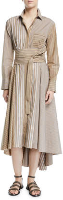 Brunello Cucinelli Belted Striped-Poplin Midi Shirtdress