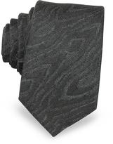 Lanvin Black Woven Silk Narrow Tie