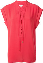 MICHAEL Michael Kors lace-up neck T-shirt - women - Polyester/Spandex/Elastane - XXS