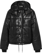 McQ by Alexander McQueen Hooded Quilted Leather Jacket - Black
