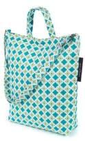 Keep Leaf Tiles Print Organic Cotton Shoulder Tote Bag in Teal/Green