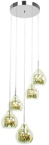 Smoked Glass and Chrome 5 Bulb Pendant Light