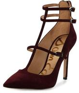 Sam Edelman Hayes Suede Caged Pointed-Toe Pump, Port Wine