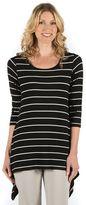 Larry Levine Women's Striped Lace-Back Tee