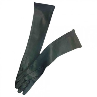 Prada Green Leather Gloves