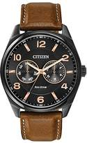 Citizen Watch Men's Quartz Watch with Black Dial Analogue Display and Brown Leather Strap AO9025-05E
