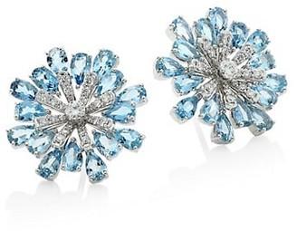 Hueb Botanica 18K White Gold, Diamond & Aquamarine Snowflake Stud Earrings